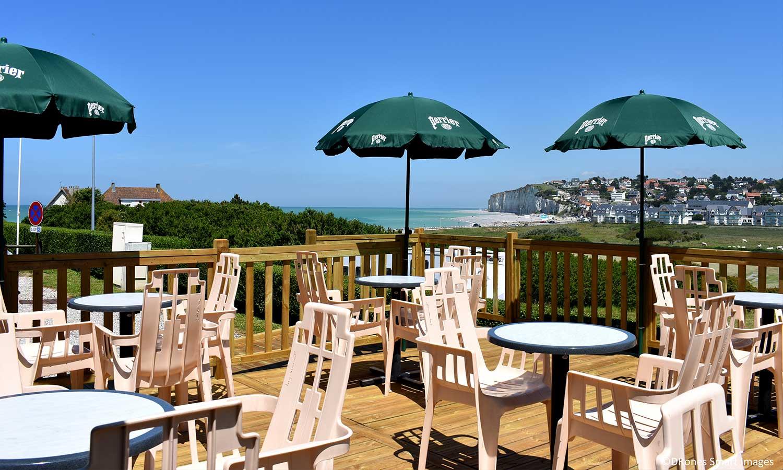terrasse vue sur mer camping les mouettes Normandie